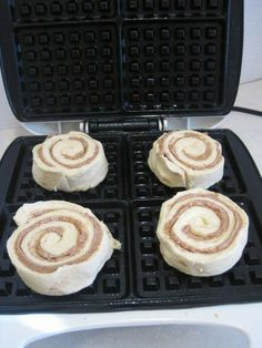 Our Dorms have kitchens so bring yourself a little waffle maker and try these. Spray your waffle iron with cooking spray, place 4 cinnamon rolls on waffle iron and close. Make sure you close the waffle maker completely. I locked it closed so the waffle maker would smash the cinnamon rolls. Click to see the finished product, which looks soooo good and also to get a Cream Cheese Syrup Recipe.