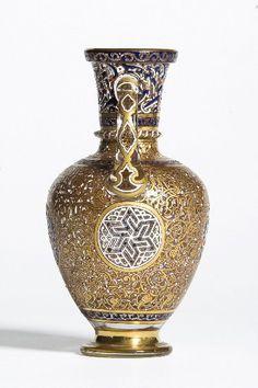 Lobmeyr, orientalist vase, blown glass, enamelled and gilt, 1878 Indian Home Decor, Opaline, Arabesque, Antique Art, Stained Glass, Glass Art, Ottomans, Blown Glass, Antiques