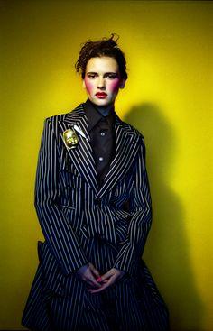 IANA GODNIA BY MIGUEL VILLALOBOS, FALL 2013      STYLING: GRAHAM TABOR      HAIR: CHINATSU NOBE      MAKE UP: MANAMI ISHIKAWA      COMME DES GARÇONS Rei Kawakubo, Business Women, Ishikawa, Undercover, Graham, Photography, Stripes, Inspired, Fall