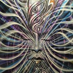 Revisiting a live painting begun 2013 on my birthday, April 19th at the annual Bicycle Day party in San Francisco... Always a fun way to celebrate my cycle around the sun  my ol pal Michael Divine did some strokes on this one too⚡️ @michael_divine #livepainting #bicycleday #visionaryart #amandasage