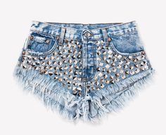 Authentic acid wash, cut off studded denim shorts. Holes, rips and super frayed. **As a part of our unique wash process, actual item will vary Denim Cutoff Shorts, Distressed Denim Shorts, Studded Shorts, Ripped Jean Shorts, Studded Denim, High Waisted Shorts, Silver Shorts, Diy Jeans, Cheap Jeans