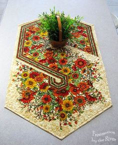 Fall Flowers in Triangles Table runner at Freemotion by the River