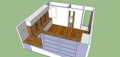"""This 3-D rendering shows how the designer and the builder maximized every inch of the former basement storage space.     """"The project was a bit like putting together pieces in a puzzle. Kirker wanted a bathroom, desk area, TV, reading nook and loads of storage,"""" says Schuneman. """"We had to resolve lots of spatial and foundational issues before any of the pretty stuff could happen."""""""