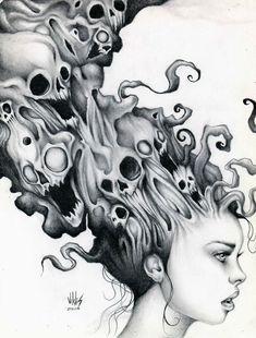 24 enero 2014 by victormvr on DeviantArt - Yersq Sites Dark Artwork, Dark Art Drawings, Art Drawings Sketches, Tattoo Drawings, Weird Drawings, Arte Horror, Horror Art, Beautiful Dark Art, Macabre Art