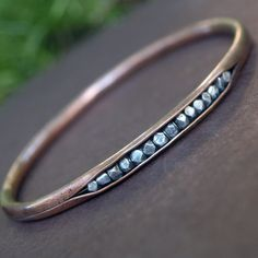 Copper and Silver Hollow Tube Bangle - Mixed Metal Handmade Bracelet - Hammered Cold Forged Oxidized - Bead Inset