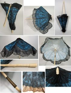 Mid 19th C. Victorian Folding Carriage Parasol in Blue and Black Chantilly Lace  about 1860s