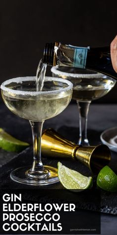 Every holiday party needs a signature cocktail! This Elderflower, GIn & Prosecco Cocktail is a fun & festive sipper that is easy to make at home! Gin And Prosecco Cocktail, Gin Cocktail Recipes, Signature Cocktail, Fun Cocktails, Fun Drinks, Alcoholic Drinks, Elderflower Champagne, Brunch Drinks, Spring Cocktails