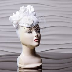White Rose Cocktail Hat  Make your Statement with this Stunner! New, Hand Made and High Quality. White satin base with white satin roses and pearled  applicay detail with mary willow netting. Materials: Buckram Structure with comb  This Elegant Fascinator is perfect for weddings and Church. The Bird Cage detailing and the feminine roses exude elegance and femininity all while remaining fresh and flirty.   This Fashionable Fascinator is Perfect for Weddings, Church, The Kentucky Derby, Horse…