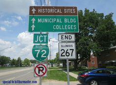 A junction marker on NB Illinois State Route 267 at Jacksonville, Illinois