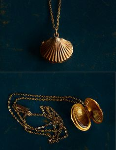 eriebasin:  19th Century 18K Gold Shell Locket and 9K Gold Chain, English, $695
