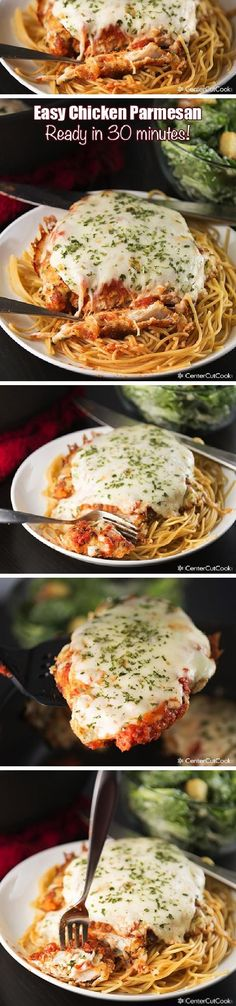 An EASY recipe for CHICKEN PARMESAN that's ready in 30 minutes! Served over pasta, this CHICKEN PARMESAN with melty mozzarella and marinara is a family favorite!