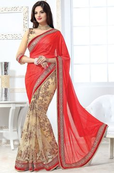 Online shopping site for latest collection of saree, designer saree. Grab this net red designer saree for festival and party. Lehenga Style Saree, Saree Look, Net Saree, Lehenga Choli, Saree Blouse, Sari, Saree Dress, Most Beautiful Dresses, Beautiful Saree