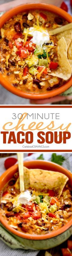 Less than 30 minutes for this ONE POT Cheesy Taco Soup! This is the ultimate comforting soup packed with all your favorite taco flavors and is SO easy and great for crowds! You haven't had taco soup until you try this version!  via @carlsbadcraving