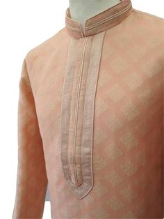 Mens Kurta (Long Shirt) and off white churidar trousers set.(Draw stringed tight at ankle Indian trousers)Ideal for Asian weddings , Bollywood Parties or any special occasion.Colour: PinkMaterial: Benarasi BrocadeStyle: Simple / Classic - Self. Mens Shalwar Kameez, Kurta Men, Mens Sherwani, Indian Groom Wear, Indian Wedding Wear, White Churidar, Boys Kurta Design, Gents Kurta, Banded Collar Shirts