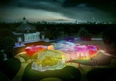 Design render for the Serpentine Pavilion 2015 by SelgasCano at night