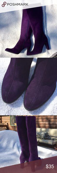 "Stuart Weitzman Purple Suede Boots Stuart Weitzman Purple Suede Boots. Wore one time. 3.5"" heel. Approx 17"" tall from floor to top of boot. Inside zipper. Size 6. Stuart Weitzman Shoes Heeled Boots"