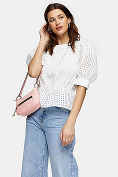 Elevate Your Fashion Game To The Next Level With Our Ivory Sheer All Over Check Blouse. Designed With Exaggerated Puff Sleeves, This Piece Has The Elegant Drama That We Love At Topshop. Topshop, Shirt Blouses, Shirts, Fashion Games, Ivory, Elegant, Puff Sleeves, Clothes, Check