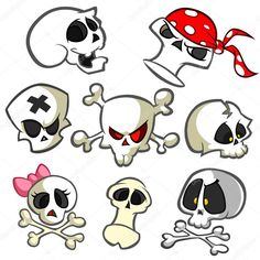 A collection of vector cartoon skulls in various styles. Halloween elements for party decoration Maori Tattoos, Skull Tattoos, Yakuza Tattoo, Graffiti Art, Graffiti Lettering, Tattoo Familie, Art Sketches, Art Drawings, Skull Icon