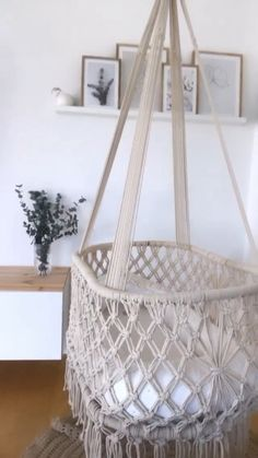 macrame baby swing - In love down to the smallest detail ♥ ️ HANDMADE Our products are carefully handcrafted. Macrame Hanging Chair, Macrame Chairs, Hanging Crib, Hanging Chairs, Baby Hammock, Baby Swings, Hammock Swing, Baby Room Design, Baby Room Decor