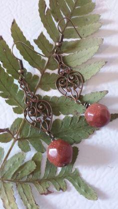 Antique copper, and Goldstone. Handmade jewelry