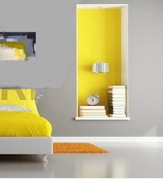 Summer Deco, Wall Shelving Units, Wall Bookshelves, Yellow Home Decor, Yellow Interior, Yellow Kitchen Inspiration, Piece A Vivre, Home Bedroom, Bedrooms