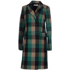Cycle Coat ($235) ❤ liked on Polyvore featuring outerwear, coats, green, long sleeve coat, flannel coats, double-breasted coat y green coat