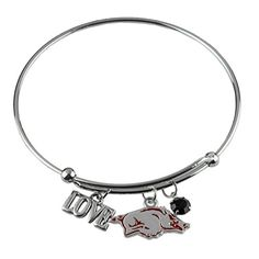 Bangle Wire Bracelet Love University of Arkansas with Razorbacks Team Logo Charm Silver Tone. University of Arkansas silver color expandable wire bangle with three dangle charms. LOVE charm, Razorbacks Team Logo, Team Color Red Crystal Bead. Bangle measures approx 2 5/8 inches across and adjusts easily on your wrist. Fashion trending bracelet for Arkansas Razorbacks Fans!. Officially Licensed Collegiate Product.