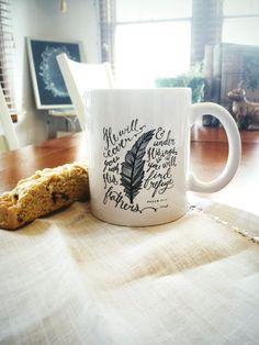 11 oz. Ceramic Mug | Psalm 91:4 | Feathers |