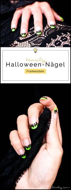"""Flippiges Halloween Nageldesign """"Frankenstein"""" - Einfache Maniküre Idee   Filizity.com   Beauty-Blog aus dem Rheinland #halloween #nagellack"""