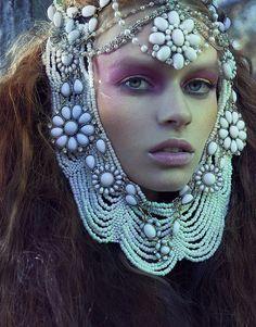 Jewel head piece hair necklace