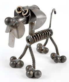 Valve Spring Metal Dog Sculpture