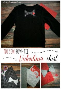 Valentines day Craft ideas, no sew Bow tie shirt for kids, fast and easy low cost and super cute!