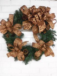 Cheetah Print Christmas  Wreath  made with Animal Print Ribbon
