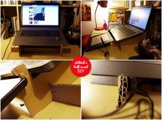 cardboard monitor stand!  my main laptop is a heavy 17'', so i made 2 of the walls double to make sure the stand wouldn't wobble (a small netbook or a light ultrabook will be fine on single walls). a good thing to remember is to make the sloping walls longer on the back so that the chance of your laptop toppling backwards is minimized. you wouldn't like that.  my stand also features little slots for my drawing tablet to lean on, but i'll be modifying that later - again, to make it more…
