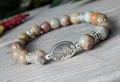 Aqua Terra Jasper Bracelet with a Tree Branch focal bead