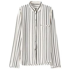 LUCLUC White and Black Striped Long Sleeve Blouse ($20) ❤ liked on Polyvore