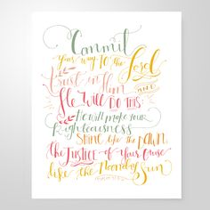 Image of Psalm 37:5-6 | 8x10 print $12