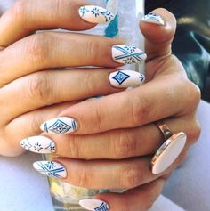 Artistic Blue Summer Designs on White Polish For Mountain Peak Nails