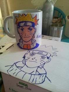Naruto sharpie design mug. Normal sharpies wont stay permenant when baked. Using an enamel spray makes it stay on. Leave the sharpie design to dry for at least 24 hrs and then spray at a distance of about 30 cm.