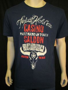 NEW LUCKY BRAND Distressed Graphic Texas Hold 'Em Navy Blue S/S Crew T Shirt LG