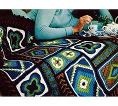 Vintage Crochet Pattern Afghan  DIY Custom Granny Squares by 2ndlookvintage, $3.00