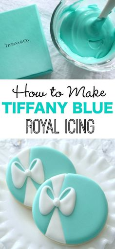 The first time I made Tiffany blue cookies, I wasn't concerned in the least. Until it was time to mix icing. It was then I realized, I had no idea what color Tiffany blue actually Icing Frosting, Cookie Icing, Royal Icing Cookies, Frosting Recipes, Blue Cookies, Iced Cookies, Cookies Et Biscuits, Cupcake Cookies, Sugar Cookies