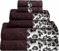 Snow Leopard & Plum Bordering Africa Bath Towels  $11.00-$27.00 SALE $10.00-$24.00 baths, towel 11002700, bath towel, border africa, africa bath, leopards, snow leopard, sale, leopard bathroom