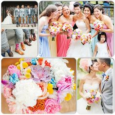 Rainbow wedding!  Colorful bridesmaid dresses, bridal bouquet and flashy groomsmen