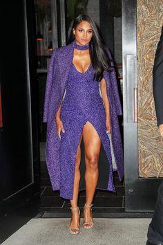 Ciara slays in high-slit ultra violet dress and jacket. (SplashNews) News 2019 Sexy Dresses, Nice Dresses, Summer Dresses, Ciara Style, Wedding Dress, Violet Dresses, Star Girl, Summer Trends, Beautiful Black Women