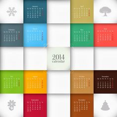 Colorful New Year Calendar 2014
