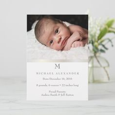 Baby boy silver birth announcement ı Photo card , Baby Announcement Photos, Newborn Baby Photos, Zazzle Invitations, Photo Cards, Baby Shop, Card Making, Silver, Baby Announcement Pics, Baby Announcement Pictures