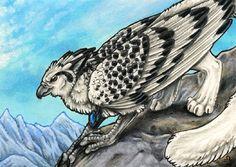 ACEO - Mountain Sentinel by BloodhoundOmega.deviantart.com on @deviantART Gryphon griffin