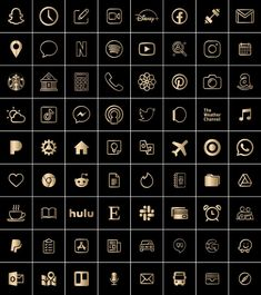 Iphone App Layout, Iphone App Design, Black And Gold Aesthetic, Gold App, App Store Icon, Snapchat Icon, Apple Icon, Iphone Homescreen Wallpaper, Cute App