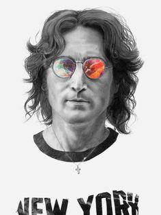 "urhajos: "" John Lennon by Michael Molloy "" John Lennon, Illustration Arte, Illustrations, Beatles Art, The Beatles, Dragons Online, The Fab Four, Ringo Starr, Bruce Lee"
